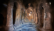 Interior view of the early Christian rock Selime cathedral cut into volcanic rock. 8th-9th cent AD. Cathedral of Selime in Cappadocia, Ilhara Vallet, Turkey