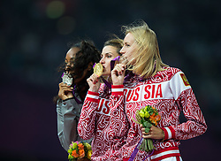 11.08.2012, Olympia Stadion, London, GBR, Olympia 2012, Hochsprung, Damen, Podium, im Bild Brigetta Barrett (USA, Silber Medaille), Svetlana Shkolina (RUS, Gold Medaille), Anna Chicherova (RUS, Bronze Medaille) // silver medal Brigetta Barrett (USA), gold medal Svetlana Shkolina (RUS), bronze medal Anna Chicherova (RUS) during Women's High Jump podium at the 2012 Summer Olympics at Olympic Stadium, London, United Kingdom on 2012/08/11. EXPA Pictures © 2012, PhotoCredit: EXPA/ Johann Groder