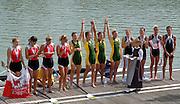 Ottensheim, AUSTRIA.  A  Final,  LM4X, Medals AUS  Bow, Ingrid FENGER, Bronwyn WATSON, Miranda BENNETT and Alice McNAMARA,  Gold Medallist, at the 2008 FISA Senior and Junior Rowing Championships,  Linz/Ottensheim. Sunday,  27/07/2008.  [Mandatory Credit: Peter SPURRIER, Intersport Images] Rowing Course: Linz/ Ottensheim, Austria