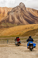 Riding motorcycles along the Leh-Manali Highway, Himachal Pradesh, India.