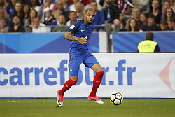 France's Layvin Kurzawa during the World Cup 2018 Group A qualifications soccer match, France vs Netherlands at Stade de France in Saint-Denis, suburb of Paris, France on August 31st, 2017 France won 4-0. Photo by Henri Szwarc/ABACAPRESS.COM