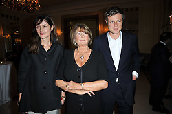 Left to right, INDIA-JANE BIRLEY, LADY ANNABEL GOLDSMITH and ZAC GOLDSMITH at a party to celebrate the publiction of 'No Invitation Required' by Annabel Goldsmith, held at Claridge's, Brook Street, London on 11th November 2009.