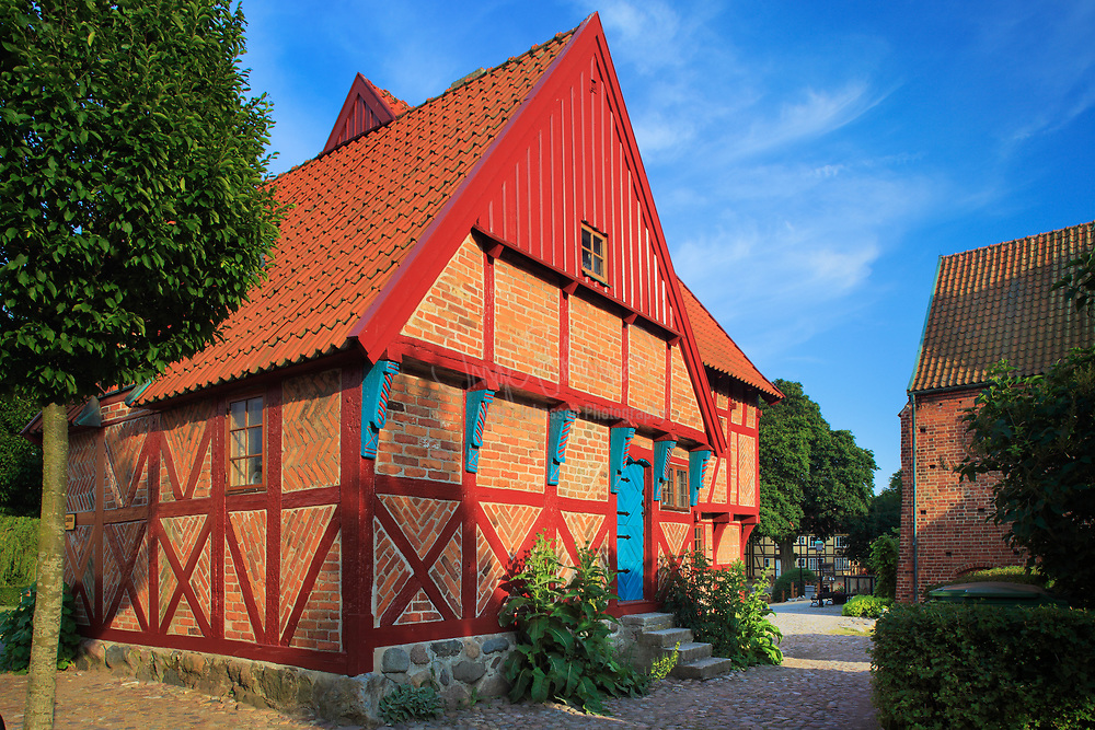"""Korsvirkeshus"" type house in central Ystad in the southern province of Skåne in Sweden"