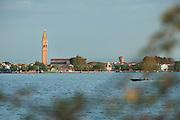 Island of Burano seen from Sant'Erasmo. Venice, Italy, Europe