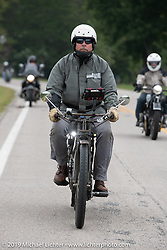 Chris Tribbey rode his 1911 Excelsior model-K single cylinder class-1 bike in the Motorcycle Cannonball coast to coast vintage run. Stage 5 (229 miles) from Bowling Green, OH to Bourbonnais, IL. Wednesday September 12, 2018. Photography ©2018 Michael Lichter.