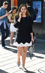 EXCLUSIVE ALL ROUNDER Princess Beatrice of York is seen walking alone in knightsbridge wearing  a blue and white summer dress and going into harrods  for a spot of shopping.<br /> <br /> 20 April 2018.<br /> <br /> Please byline: Neil Warner / Vantagenews.com