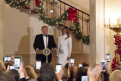 December 17, 2018 - Washington, DC, United States of America - U.S President Donald Trump, joined by First Lady Melania Trump delivers remarks at the Congressional Ball in the Grand Foyer of the White House December 15, 2018 in Washington, DC. (Credit Image: © Andrea Hanks via ZUMA Wire)