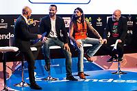Sport journalist Antonio Lobato, Montakit Fuenlabrada player Carlos Cabezas, Singer Leo Jimenez and comedian Goyo Jimenez during the presentation of the new season of La Liga Endesa 2016-2017 in Madrid. September 20, 2016. (ALTERPHOTOS/Borja B.Hojas)