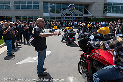 Hells Angels' founding member Sonny Barger helps direct bikes into the shop parking lot for the Arlen Ness Memorial - Celebration of Life at the Arlen Ness Motorcycles store. Dublin, CA, USA. Saturday, April 27, 2019. Photography ©2019 Michael Lichter.