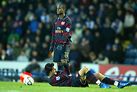 Photo: Paul Greenwood/Sportsbeat Images.<br />Blackburn Rovers v Arsenal. Carling Cup, Quarter Final. 18/12/2007.<br />Arsenal's Justin Hoyte, (standing) looks concerned at the plight of team mate Nacer Barazite