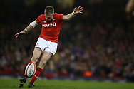 Gareth Anscombe of Wales kicks a conversion. Wales v Italy , NatWest 6 nations 2018 championship match at the Principality Stadium in Cardiff , South Wales on Sunday 11th March 2018. pic by Andrew Orchard, Andrew Orchard sports photography