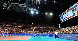 03-10-2015 NED: Volleyball European Championship Semi Final Nederland - Turkije, Rotterdam<br /> Nederland verslaat Turkije in de halve finale met ruime cijfers 3-0 / Ahoy Oranje gekleird, publiek, support, Maret Balkestein-Grothues #6