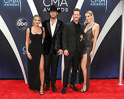 52nd Annual Country Music Association Awards hosted by Carrie Underwood and Brad Paisley and held at the Bridgestone Arena on November 14, 2018, in Nashville, TN. © Curtis Hilbun / AFF-USA.com. 14 Nov 2018 Pictured: Brittney Kelley and Brian Kelley and Tyler Hubbard of Florida Georgia Line and Hayley Hubbard. Photo credit: Curtis Hilbun / AFF-USA.com / MEGA TheMegaAgency.com +1 888 505 6342