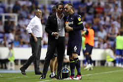 Derby County manager Frank Lampard speaks to Richard Keogh during the Sky Bet Championship match at the Madejski Stadium, Reading.