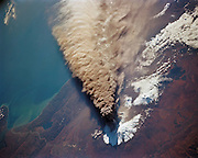 A VOLCANIC ERUPTION SEEN FROM A SPACE SHUTTLE<br /> <br /> In this incredible capture taken on 30 September 1994, we see a major eruption of Klyuchevskaya Sopka as seen by the astronauts aboard the Space Shuttle Endeavour (mission: STS-68). The eruption cloud reached 60,000 feet above sea level and the winds carried ash as far as 640 miles (1,030 km) southeast from the volcano into the North Pacific air routes. This picture was made with a large format Linhof camera. While astronauts used handheld camera's to keep up with the Kamchatka event, instruments in the cargo bay of Endeavour recorded data to support the Space Radar Laboratory (SRL-2) mission.<br /> Klyuchevskaya Sopka is a stratovolcano, the highest mountain on the Kamchatka Peninsula of Russia and the highest active volcano of Eurasia. Its steep, symmetrical cone towers about 100 kilometres (60 mi) from the Bering Sea. The volcano is part of the natural Volcanoes of Kamchatka UNESCO World Heritage Site. Klyuchevskaya's first recorded eruption occurred in 1697 and it has been almost continuously active ever since.<br /> ©Nasa/Exclusivepix