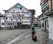 Zum Drei Konig Bakery & Cafe building. Appenzell Innerrhoden is Switzerland's most traditional and smallest-population canton (second smallest by area). Appenzell is known for rural customs and traditions such as the ceremonial descent of cattle in autumn, as well as hiking tours in the scenic Alpstein region.