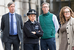 © Licensed to London News Pictures. 11/05/2021. London, UK. Met police chief CRESSIDA DICK (centre) stands on Whitehall ahead of State Opening of Parliament at the Houses of Parliament. Photo credit: Ben Cawthra/LNP