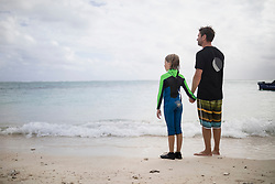 Father and daughter at the seashore, Mauritius
