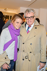 PANDORA MORRIS and her father NICK MORRIS at a private view entitled Stop Making Sense featuring work by Georgiana Anstruther and Carol Corell held at Lacey Contemporary, 8 Clarendon Cross, London on 9th March 2016.
