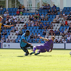 TELFORD COPYRIGHT MIKE SHERIDAN 4/8/2018 - GOAL. Amari Morgan Smith scores to make it 1-0 during the National League North fixture between AFC Telford United and Southport FC.