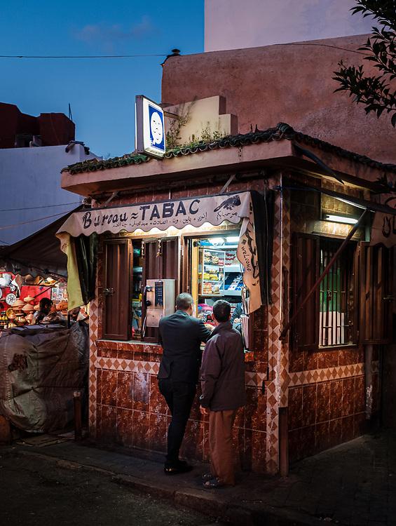 CASABLANCA, MOROCCO - CIRCA APRIL 2018: Typical store and merchant of the Medina in Casablanca.