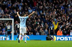 Manchester City's Gael Clichy celebrates Manchester City's Sergio Aguero's goal - Photo mandatory by-line: Dougie Allward/JMP - Tel: Mobile: 07966 386802 24/11/2013 - SPORT - Football - Manchester - Etihad Stadium - Manchester City v Tottenham Hotspur - Barclays Premier League