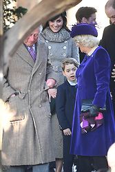 The Prince of Wales, the Duchess of Cambridge, Prince George and the Duchess of Cornwall after attending the Christmas Day morning church service at St Mary Magdalene Church in Sandringham, Norfolk.