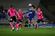 AFC Wimbledon attacker Ryan Longman (29) heading ball during the EFL Sky Bet League 1 match between AFC Wimbledon and Peterborough United at Plough Lane, London, United Kingdom on 2 December 2020.