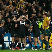 New Zealand players celebrate Ma'a Nonu's try during the New Zealand V Australia Semi Final match at the IRB Rugby World Cup tournament, Eden Park, Auckland, New Zealand, 16th October 2011. Photo Tim Clayton...