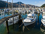 """Boats dock at Havelock, """"the green mussel capital of the world."""" South Island, New Zealand."""