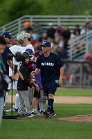KELOWNA, CANADA - JUNE 28: Juno Award winning country music artist Aaron Pritchett is introduced during the opening charity game of the Home Base Slo-Pitch Tournament fundraiser for the Kelowna General Hospital Foundation JoeAnna's House on June 28, 2019 at Elk's Stadium in Kelowna, British Columbia, Canada.  (Photo by Marissa Baecker/Shoot the Breeze)