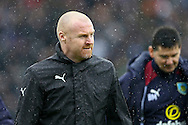 Burnley Manager Sean Dyche makes his way to the dugout. Premier league match, Burnley v Chelsea at Turf Moor in Burnley, Lancs on Sunday 12th February 2017.<br /> pic by Chris Stading, Andrew Orchard Sports Photography.