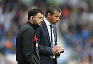 Head coach Slavisa Jokanovic and Assistant head coach Ruben Martinez during the Sky Bet Championship match between Brighton and Hove Albion and Watford at the American Express Community Stadium, Brighton and Hove, England on 25 April 2015.