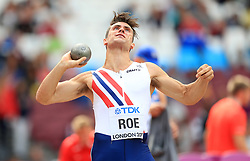 Norway's Martin Roe competes in the Men's Decathlon Shot Put during day eight of the 2017 IAAF World Championships at the London Stadium.