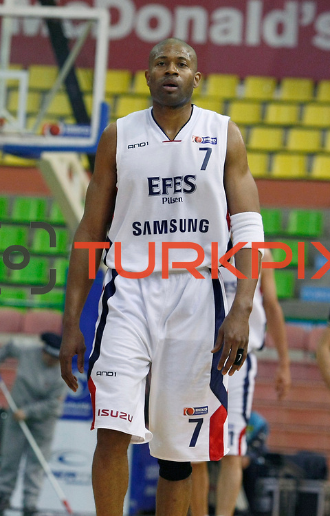 Efes Pilsen's Charles SMITH during their Turkish Basketball league Play Off semi final first match Efes Pilsen between Besiktas at the Ayhan Sahenk Arena in Istanbul Turkey on Sunday 09 May 2010. Photo by Aykut AKICI/TURKPIX