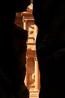 The Treasury (Al-Khazneh) at Petra from the Siq