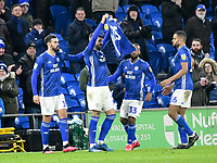 Football - 2019 / 2020 Sky Bet (EFL) Championship - Cardiff City vs. West Bromwich Albion<br /> <br /> Callum Paterson of Cardiff holds up a no 25 shirt celebrates scoring his team's first goal, at Cardiff City Stadium.<br /> <br /> COLORSPORT/WINSTON BYNORTH