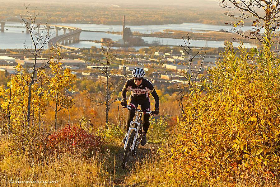 Mountain biking on the Piedmont Trail in Duluth, Minnesota, USA model released