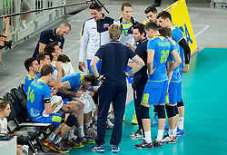 Luka Slabe, head coach of Slovenia with players during volleyball match between National teams of Slovenia and Latvia in Qualifications for 2015 CEV Volleyball European Championship - Men on May 25, 2014 in Arena Stozice, Ljubljana, Slovenia. Photo by Vid Ponikvar / Sportida