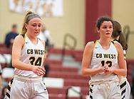 Central Bucks West's Maddy McGarry #34 and Emily Spratt #13 react in the final seconds of their playoff loss to Freedom in the girls PIAA Class 6A second round playoff game, Central Bucks West vs Freedom Tuesday, March 10, 2020 at Pottsgrove High School in Pottsgrove, Pennsylvania. (WILLIAM THOMAS CAIN/PHOTOJOURNALIST)