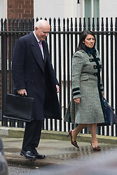 Downing Street, London, February 11th 2016. Work and Pensions Secretary Iain Duncan Smith and Employment Minister Priti Patel attend the weekly cabinet meeting. <br /> ©Paul Davey<br /> FOR LICENCING CONTACT: Paul Davey +44 (0) 7966 016 296 paul@pauldaveycreative.co.uk