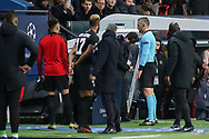 Referee Damir Skomina of Slovenia checks VAR during the Champions League Round of 16 2nd leg match between Paris Saint-Germain and Manchester United at Parc des Princes, Paris, France on 6 March 2019.