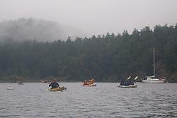 Paddling Out of Reid Harbor, Stuart Island, Washington, US
