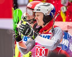 19.01.2020, Lauberhorn, Wengen, SUI, FIS Weltcup Ski Alpin, Slamon, Herren, 2. Lauf, im Bild Alexander Khoroshilov (RUS, 3. Platz), Henrik Kristoffersen (NOR, 2. Platz) // third placed Alexander Khoroshilov of Russian Federation second placed Henrik Kristoffersen of Norway react after their 2nd run of men's Slalom of FIS ski alpine world cup at the Lauberhorn in Wengen, Switzerland on 2020/01/19. EXPA Pictures © 2020, PhotoCredit: EXPA/ Johann Groder