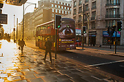 Early morning in Oxford Street by Marble Arch, on 16th April 2020 in London, United Kingdom. Normally crowded with people London is like a ghost town as workers stay home under lockdown during the Coronavirus pandemic.