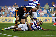 Jonjo Shelvey of Newcastle United checks on Jordan Cousins of QPR after he had collided with him. EFL Skybet football league championship match, Queens Park Rangers v Newcastle Utd at Loftus Road Stadium in London on Tuesday 13th September 2016.<br /> pic by John Patrick Fletcher, Andrew Orchard sports photography.
