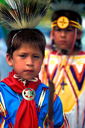 Two Young American Indian Boys in Costume at Taos Pueblo Pow Wow