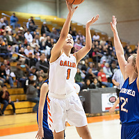Gallup's Ashley Antone (1) takes a shot in the paint Friday night against Bloomfield at Gallup High School.