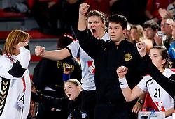 Dragana Cvijic, Uros Bregar and Alja Jankovic of Krim celebrate at handball match of Round 2 of Champions League between RK Krim Mercator and Aalborg DH, on October 31, 2009, in Arena Kodeljevo, Ljubljana, Slovenia.  Krim won 30:23. (Photo by Vid Ponikvar / Sportida)