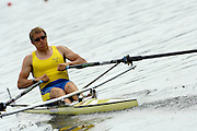 Poznan, POLAND.  2006, FISA, Rowing, World Cup, SWE  M1X Lassi  KARONEN, moves  away from  the  start, on the Malta  Lake. Regatta Course, Poznan, Thurs. 15.05.2006. © Peter Spurrier   .[Mandatory Credit Peter Spurrier/ Intersport Images] Rowing Course:Malta Rowing Course, Poznan, POLAND